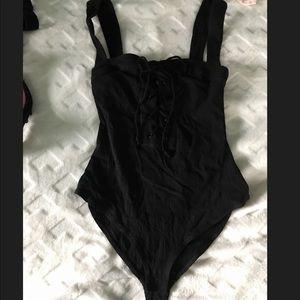 Black lace up bodysuit